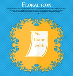 Homework icon Floral flat design on a blue vector image
