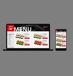 japanese food online shop concept vector image vector image