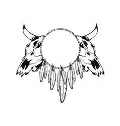 Skulls bull and tambourine vector