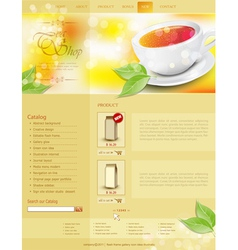website template tea shop vector image vector image
