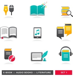 collection of E-book audiobook and literature vector image