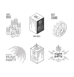 Music set label vector image vector image