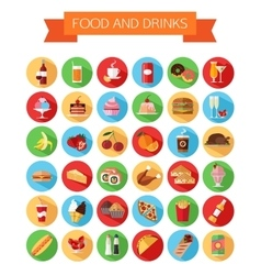 Set of colorful food and drinks icons Flat style vector image