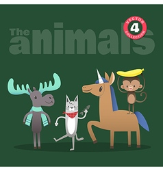 Animals cartoon including moose cat horse monkey vector