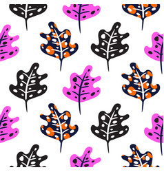 artistic neon bright pink color leaves seamless vector image