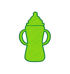 Baby bottle sign lemon scribble icon on vector