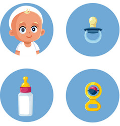 Bapacifier milk bottle and rattle toy icon set vector
