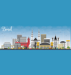Basel switzerland city skyline with color vector