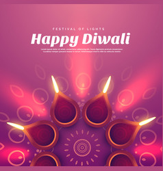 beautiful diwali with burning diya lamp vector image