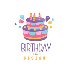 birthday logo colorful creative template vector image