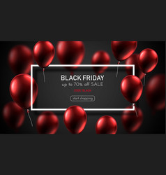 black friday sale promo poster with red glossy vector image