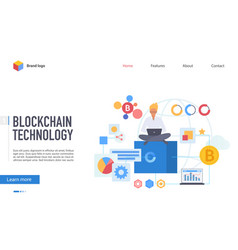 Blockchain technology landing page flat vector