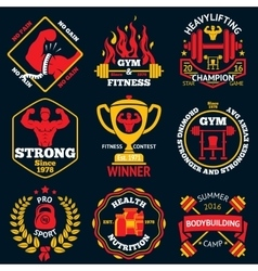 Bodybuilding bright labels set - strong man vector