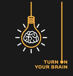Brain in bulb logo vector