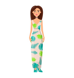 brunette girl in long summer dress with chocker vector image