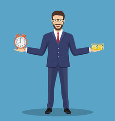 businessman balance time and money vector image