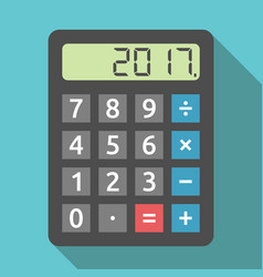 calculator showing 2017 year vector image