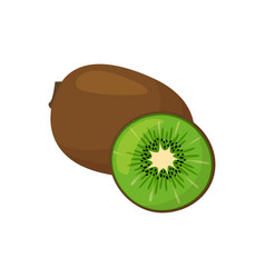 cartoon fresh kiwi isolated on white background vector image