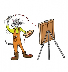 Cat painter vector