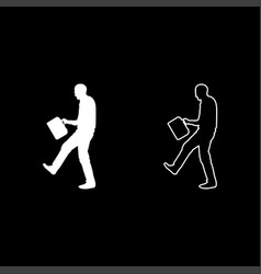 Cheerful man with a briefcase concept success win vector