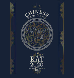 chinese new year 2020 rat card gold asian line art vector image