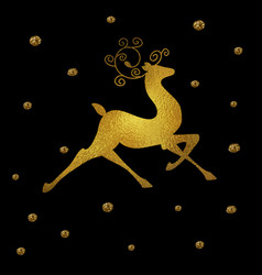 christmas foil reindeer silhouette vector image