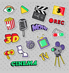 Cinema film television patches badges vector