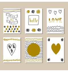 Collection of hand drawn cute cards and vector
