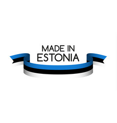 Colored ribbon with the estonian tricolor vector