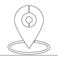 continuous line gps mark drawn single line vector image