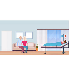 Couple man woman visiting patient man lying bed vector