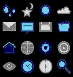 Design useful web icons on black background vector