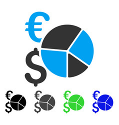 Dollar and euro pie chart flat icon vector