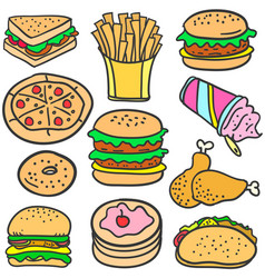 Doodle of food with burger cake vector