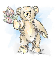 Drawing teddy bear with flowers vector