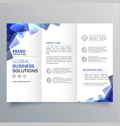 elegant trifold brochure with abstract blue shapes vector image