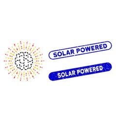 Ellipse mosaic brain radiance with grunge solar vector