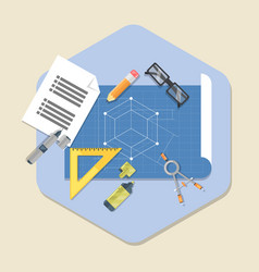 Engineering planning symbol blueprint icon vector