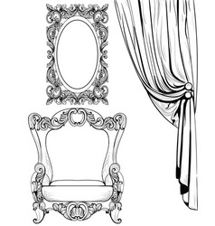 exquisite imperial baroque armchair and mirror vector image
