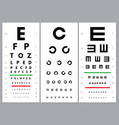 eyes charts ophthalmology vision test alphabet vector image