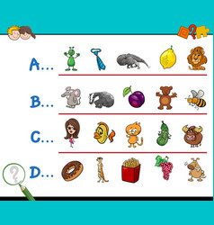 First letter of a word activity game vector
