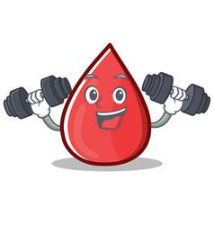 Fitness blood drop cartoon mascot character vector