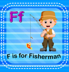 flashcard letter f is for fisherman vector image