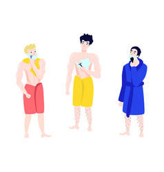 Flat men in towel bathrobe hair removal set vector
