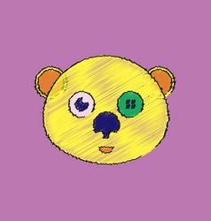 Flat shading style icon teddy bear face vector