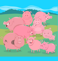 Flock of pigs farm animal characters group vector