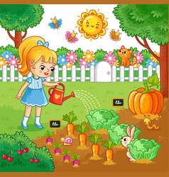 Girl is watering garden bed with vegetables vector