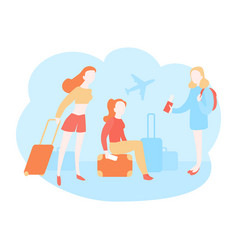 girl tourists going on holiday vector image