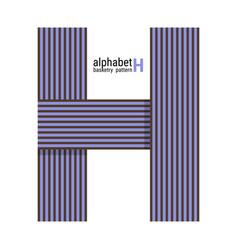 H - unique alphabet design with basketry pattern vector