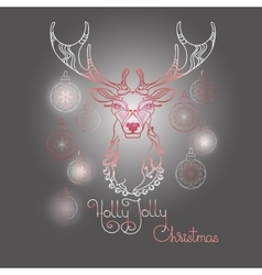 Hand drawn deer and handwritten words Holly Jolly vector image